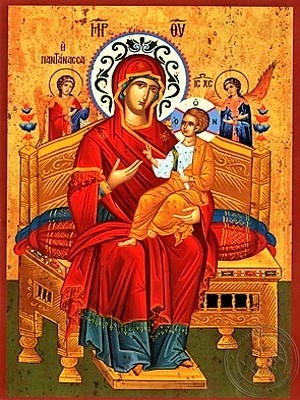 Virgin and Child Queen of the Universe Enthroned Copy of Prototype Found at the Holy Monastery Vatopediou Mount Athos Greece - H
