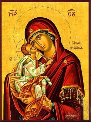 Virgin and Child Sweet Kissing - Hand Painted Icon