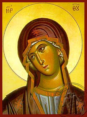 Virgin, Bust (from the Annunciation) - Hand Painted Icon