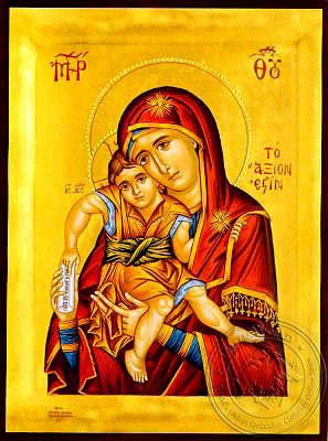Virgin and Child, Axion Esti (It is Truly Meet) - Hand Painted Icon