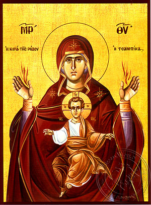 Virgin and Child, Eleutherotria Tsampika - Hand Painted Icon
