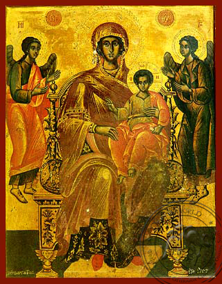 Virgin and Child, Enthroned, Platytera (More Spacious Than Heavens) - Hand Painted Icon