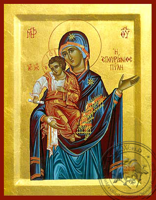 Panagia  The Celestial Portal - Hand-Painted Icon