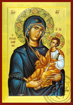 Virgin and Child, Hodegetria, Full of Grace - Hand Painted Icon