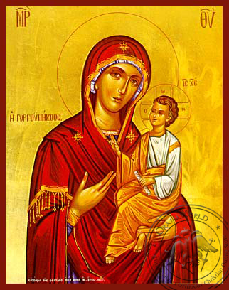 Virgin and Child, Hodegetria, Gorgoypekoos, the Quick Hearer of Mt. Athos - Hand Painted Icon