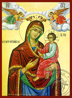 Panagia Gorgoypekoos with Angels - Hand-Painted Icon