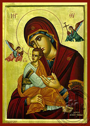 Virgin and Child, of the Passion, with Angels - Hand Painted Icon