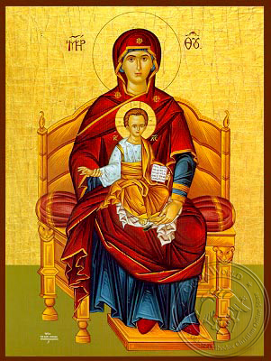 Virgin and Child, Platytera Enthroned - Hand Painted Icon