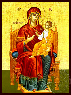 Virgin and Child, Queen of the Universe, Enthroned - Hand Painted Icon
