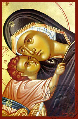 Virgin and Child, Sweet Kissing, Bust - Hand Painted Icon