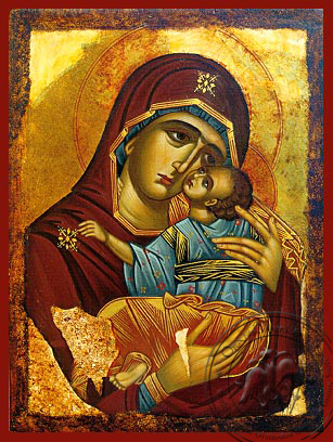 Virgin and Child, Sweet Kissing, Chionon of Naxos, Greece (Copy of Prototype) - Hand Painted Icon