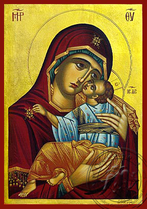 Virgin and Child, Sweet Kissing, Chionon, of Naxos, Greece (Restoration of Prototype) - Hand Painted Icon