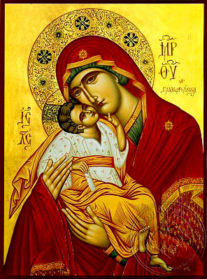 Virgin and Child, Sweet Kissing - Hand Painted Icon