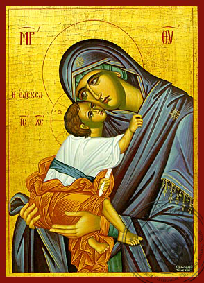 Virgin and Child, Sweet Kissing, Merciful - Hand Painted Icon