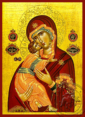 Virgin and Child, Sweet Kissing, Refuge of All - Hand Painted Icon