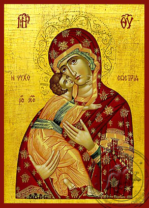 Virgin and Child, Sweet Kissing, Saviour of Souls - Hand Painted Icon