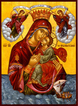 Virgin and Child, Sweet Kissing, of the Sea - Hand Painted Icon