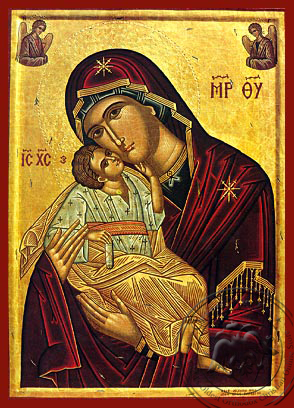 Virgin and Child, Sweet Kissing with Angels - Hand Painted Icon
