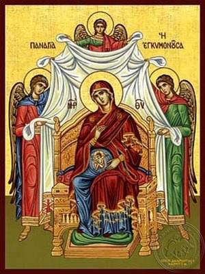 Virgin in Pregnancy Enthroned - Hand Painted Icon