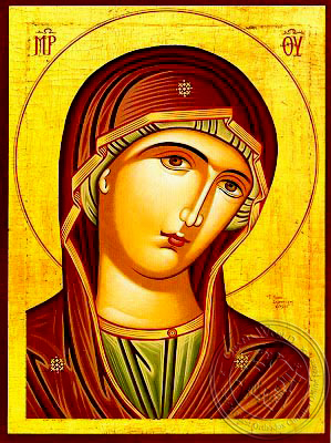 Virgin, Matron, Bust - Hand Painted Icon