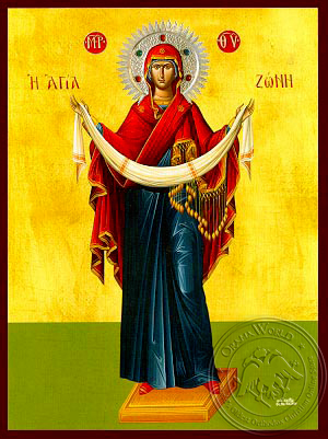 Virgin, the Placing of the Cincture, Full Body - Hand Painted Icon
