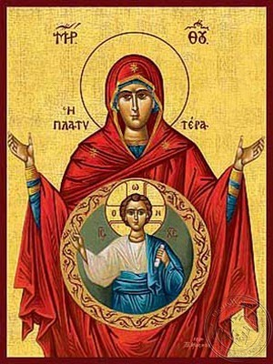 Virgin with Christ Platytera (More Spacious than Heaven) - Hand Painted Icon