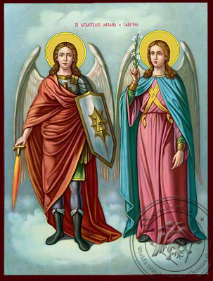 Michael and Gabriel the Holy Archangels - Nazarene Art Icon