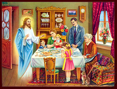 Christ Blessing the Family - Nazarene Art Icon