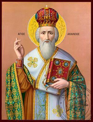 Saint Achilles, Bishop of Larisa, Greece - Nazarene Art Icon