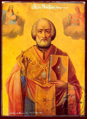 Saint Nicholas, Archbishop of Myra in Lycia - Nazarene Art Icon