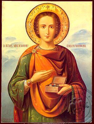 Saint Panteleimon, the Great Martyr - Nazarene Art Icon