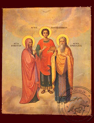 Saints Panteleimon, Hermolaus His Instructor and Eubula His Mother, Full Body - Nazarene Art Icon