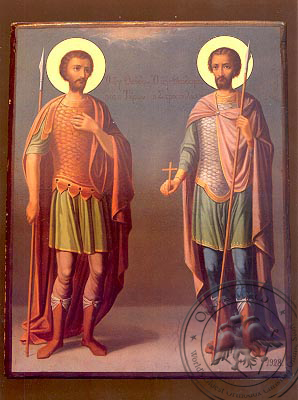 Saints Theodores the Great Martyrs, Tyro and Stratelates, Full Body - Nazarene Art Icon