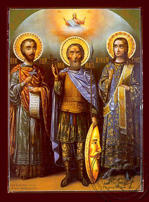 Saints Victor at Damascus, Menas of Egypt and Vincent of Spain, Full Body - Nazarene Art Icon