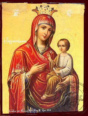 Virgin and Child, Hodegetria, Gorgoypekoos, the Quick Hearer of Mt. Athos - Nazarene Art Icon