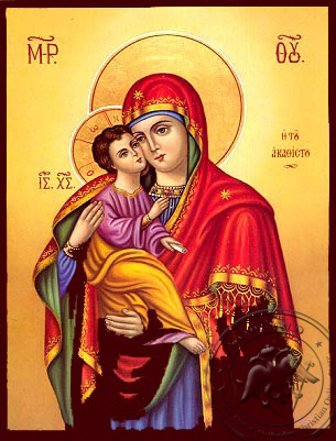 Virgin and Child, Sweet Kissing, of the Akathist (Laudation of Theotokos) - Nazarene Art Icon