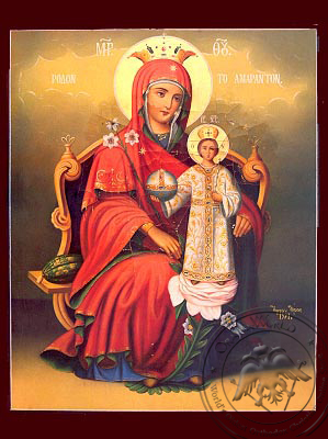 Virgin and Child, Unwithering Rose, Enthroned - Nazarene Art Icon