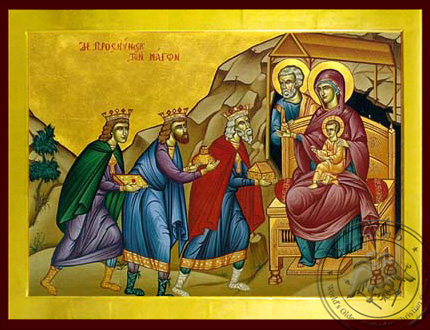 The Adoration of the Three Magi - Byzantine Icon
