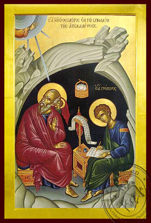 Apostle and Evangelist Saint John the Theologian with Saint Prochorus the Apostle, in Cave, Full Body - Byzantine Icon