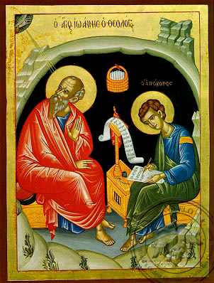 Apostle and Evangelist Saint John the Theologian with Saint Prochorus the Apostle, in Cave, Full Body - Byzantine Icon