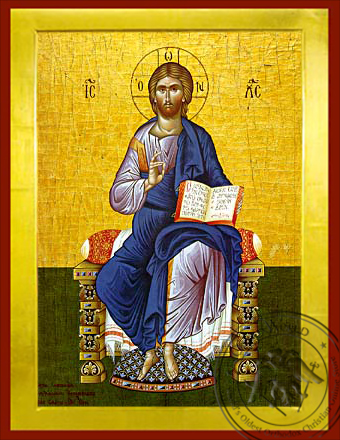 Christ Blessing, Enthroned - Byzantine Icon