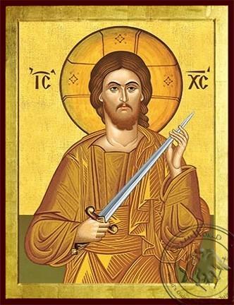 Christ with Sword Cutting Sin - Byzantine Icon