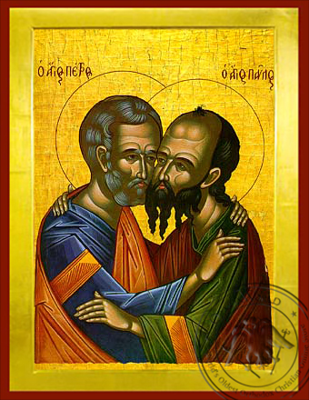 Holy Apostles Peter and Paul, the Embracement - Byzantine Icon