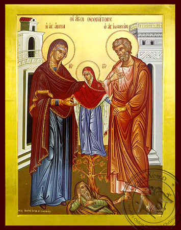 Saint Joachim and Anne with the Virgin - Byzantine Icon