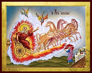 Holy Prophet Elias on Chariot and Holy Prophet Elisha - Byzantine Icon