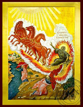 Holy Prophet Elias on Chariot and Prophet Elisha - Byzantine Icon