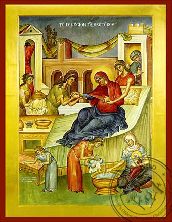 Nativity of Theotokos - Byzantine Icon
