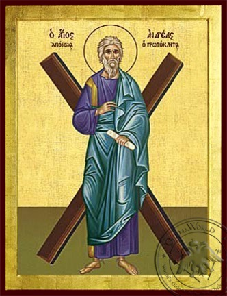 Saint Andrew the Apostle the First-Called with Cross Full Body - Byzantine Icon