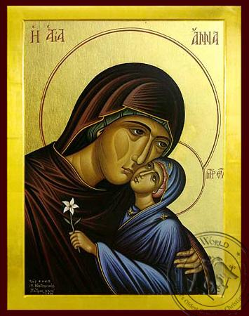 Saint Anne with Virgin, Bust - Byzantine Icon