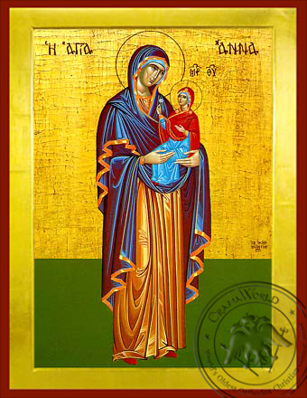 Saint Anne with Virgin, Full Body - Byzantine Icon